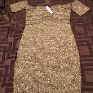 Never Worn Gold Bandeau Cocktail Dress